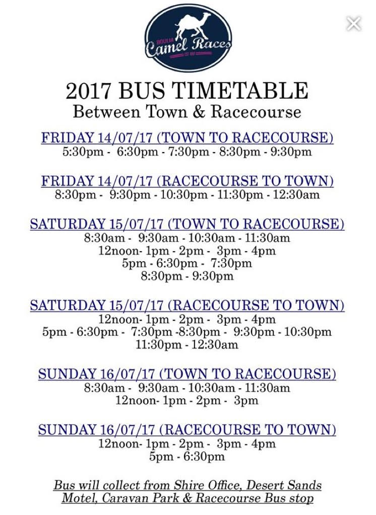 2017 Shuttle Bus Timetabe